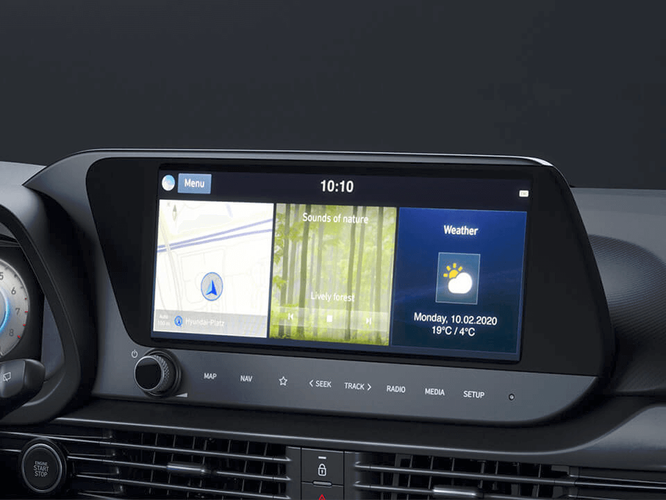 An image of the all-new  Hyundai i20's 10.25 inch centre touch screen.
