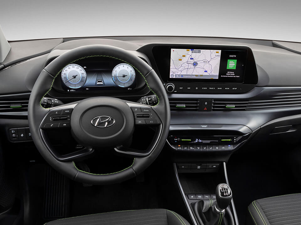 "The all-new i20 steering wheel, dashboard with 10.25"" digital cluster and 10.25"" touchscreen"